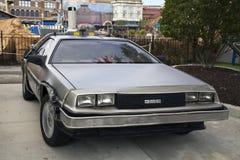 在环球影业奥兰多佛罗里达的DeLorean DMC-12 图库摄影