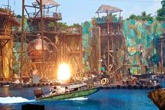 在环球影业新加坡的水上乐园展示 库存照片