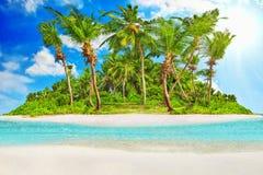 在环礁内的全热带海岛在印度洋 免版税库存图片