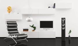 在现代内部装饰业的黑色皮革扶手椅子 免版税库存照片