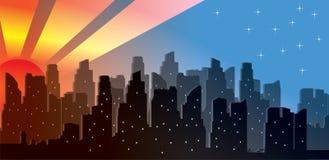在现代城市地平线的向量日出 免版税库存图片
