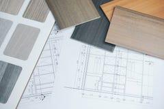 在现代房子建筑图画的颜色和材料样品  免版税库存图片