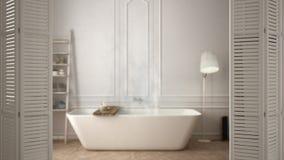 在现代斯堪的纳维亚卫生间的白色折叠门开头有浴缸的,白色室内设计,建筑师设计师概念,迷离b 皇族释放例证
