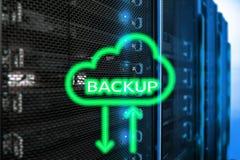 在现代服务器室背景的备用按钮 数据预防损失的措施 系统恢复 库存照片