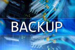 在现代服务器室背景的备用按钮 数据预防损失的措施 系统恢复 图库摄影