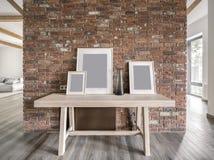 在现代样式的时髦的内部与木粱 库存图片