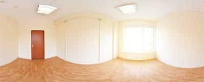 360在现代空的公寓内部,程度无缝的全景的全景视图 免版税图库摄影