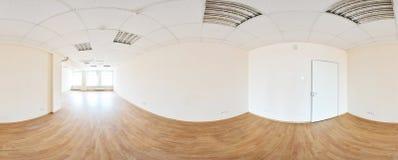 360在现代空的公寓内部,程度无缝的全景的全景视图 库存图片