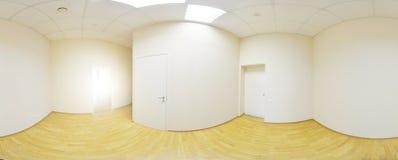 360在现代空的公寓内部,程度se的全景视图 库存照片