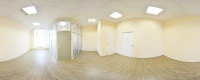 360在现代空的公寓内部,程度se的全景视图 库存图片