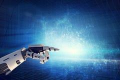 在现代背景的机器人手 免版税库存照片