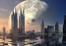 在现代都市风景的飞碟 库存照片