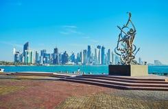在现代雕塑,多哈,卡塔尔的诗 免版税库存图片