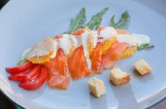 在现代餐馆地中海盘板材厨房的五颜六色的海鲜carpaccio  免版税库存照片