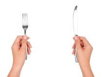 在现有量的一把刀子和叉子 免版税库存照片
