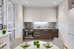 在现代公寓的厨房内部在斯堪的纳维亚样式 免版税库存照片