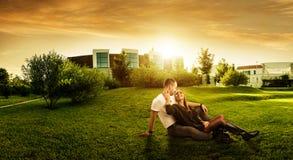 在现代大厦后的美好的新绿地 库存照片