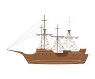 在现代平的设计的航行游艇 免版税库存图片