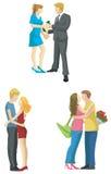 在现代时兴的样式s的爱恋的夫妇剪影 库存例证