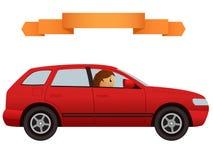 在现代红色汽车天桥的司机 免版税图库摄影