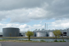 在现代荷兰温室设施的看法 免版税库存照片