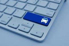 在现代键盘按钮的汽车象,经营业务加州 免版税库存图片