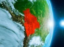 在玻利维亚上的日出行星地球上 库存照片