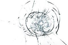 在玻璃关闭的弹孔在白色背景 免版税库存照片