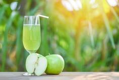 在玻璃和切片苹果果子的绿色苹果汁有自然绿色夏天背景 库存图片