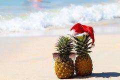 在玻璃和圣诞节帽子的菠萝在俯视蓝色海的白色沙子 免版税库存图片