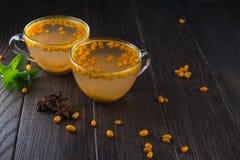 在玻璃杯子的维生素健康海鼠李茶用新鲜的未加工的海鼠李莓果和肉桂条,茴香星,薄菏 免版税库存照片