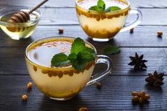 在玻璃杯子的维生素健康海鼠李茶用新鲜的未加工的海鼠李莓果和肉桂条,茴香星,薄菏 库存图片