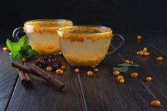 在玻璃杯子的维生素健康海鼠李茶用新鲜的未加工的海鼠李莓果和肉桂条,茴香星,薄菏 库存照片