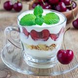 在玻璃杯子,樱桃verrine,方形的格式,特写镜头的樱桃、muesli和酸奶点心 免版税图库摄影