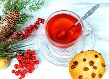 在玻璃杯的圣诞节茶 构成用曲奇饼,杉木分支,在诗歌选背景的锥体在木桌上的 免版税库存图片