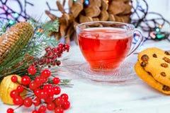在玻璃杯的圣诞节茶 构成用曲奇饼,杉木分支,在诗歌选背景的锥体在木桌上的 免版税库存照片