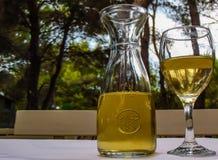 在玻璃水瓶的白葡萄酒 免版税库存照片