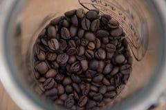 在玻璃瓶子的一份咖啡 库存图片