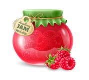 在玻璃瓶子的山莓果酱 库存照片