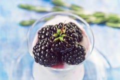 在玻璃瓶子的新鲜的五个蓝莓有酸奶视图从上面 免版税图库摄影