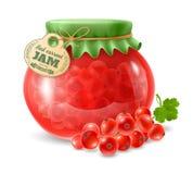 在玻璃瓶子的红浆果果酱 免版税库存图片