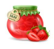 在玻璃瓶子的草莓酱 免版税图库摄影