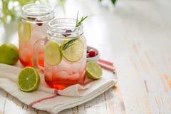 在玻璃瓶子的蔓越桔柠檬水 库存照片