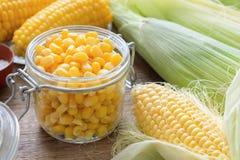 在玻璃瓶子,新鲜和煮熟的玉米棒子的罐装甜玉米 免版税库存图片