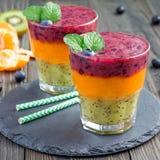 在玻璃的三倍圆滑的人:猕猴桃薄菏、普通话杏子和草莓蓝莓,方形的格式 免版税图库摄影