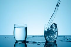 在玻璃的创造性的飞溅的水 库存图片