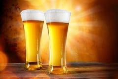 在玻璃的啤酒 免版税库存图片