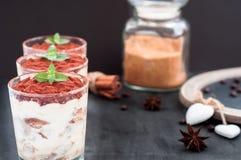 在玻璃的提拉米苏豪华点心装饰用薄菏和莓果 免版税库存图片