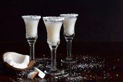 在玻璃的椰子利口酒与残破的椰树 可口Pinacolada牛奶鸡尾酒用兰姆酒 酒精饮料酒 复制空间 库存图片