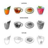 在玻璃的红萝卜汁,在杯子的甘菊茶,在板材的粥,在一块玻璃的草莓汁与叶子 库存图片